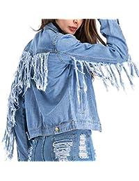 HANMAX Denim Jacket Femme Décontractée Courte Blouson en Denim Manches  Longue Veste en Jean Boyfriend Casual 193db4011f3b