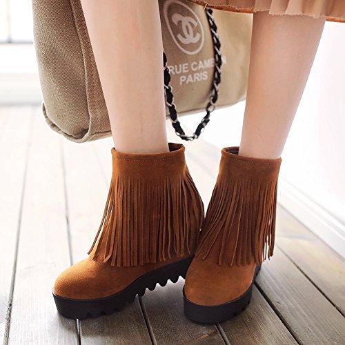 Mee Shoes Damen hidden heel Quaste warm gefüttert Nubukleder Stiefel Gelbgraun