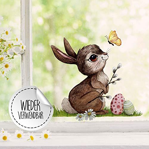Fensterbilder Fensterbild Fuchs Reh & Hasen mit Pusteblume Osterkorb Ostern wiederverwendbar Fensterdeko bf30 - ausgewählte Farbe: *bunt* ausgewählte Größe: *1. Hase mit Ostereier*
