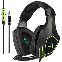 SUPSOO Cascos Gaming, G820 Súper Cómodo Bajo Profundo Professional Auriculares para PC con Cancelación de Ruido de Mic Compatible PS4 Xbox One Laptop Mac(Negro y Verde)