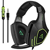 SUPSOO Gaming Headset with Mic for PS4 PC, G820 2017 New Noise Reduction 3.5 mm Professional Game Headsets for Laptop Mac,A Microsoft Adapter is Needed if for Old Generation Xbox One (Black&Green)