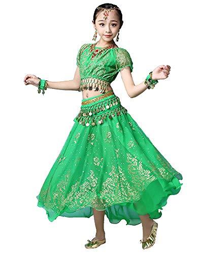 Bollywood indische Kinder Mädchen Volks bharatanatyam Bauchtanz grünen Spitzenrock 2-teilige Kinder Leistung Kostüm Kleid Outfits (130-155cm, Grün)