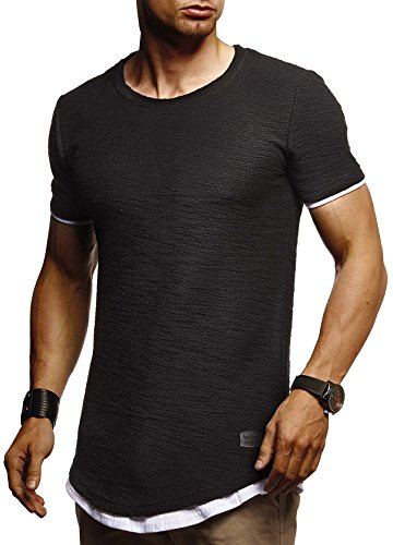 LEIF NELSON Herren Sommer T-Shirt Rundhals-Ausschnitt Slim Fit Baumwolle-Anteil | Moderner Männer T-Shirt Crew Neck Hoodie-Sweatshirt Kurzarm lang | LN8223 Schwarz Large -
