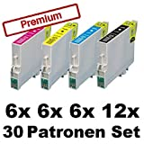 30x Tintenpatronen für Epson Stylus Photo R240 R245 RX400 RX420 RX425 RX520 T0551 T0552 T0553 T0554 - Sparset (12x Black, 6x Cyan, 6x Magenta, 6x Yellow)
