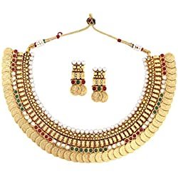 The jewelbox gold plated pearl red green 22K Gold Plated lakshmi ginni coin necklace earring set