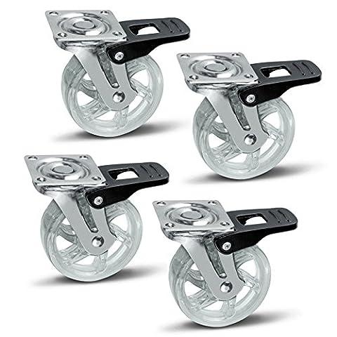 4 x SO-TECH® Roulette pour Meuble Shift transparent Ø 75 mm avec Frein Roulette Pivotante Rouleau de