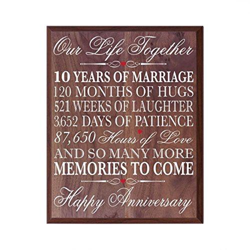 10. Hochzeitstag Wandschild Geschenke für Paar, 10. Jahrestag Geschenke für SIE, 10. Hochzeitstag Geschenke für ihn 30,5cm breit x 38,1cm Plaque von Dayspring Milestones (Walnuss) (Geschenke Dayspring)