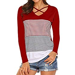 POLPqeD Damen T-Shirt Tee Hemd Casual langärmliges Shirt Splicing Hemd, Rot XX-Large