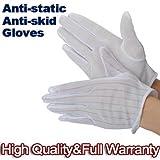 SODIAL (R) 1 Paar Anti-Statik-Anti-Rutsch-Handschuhe ESD PC Computer Elektronische Arbeiten Weiss