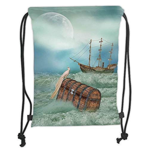 Fashion Printed Drawstring Backpacks Bags,Fantasy,Antique Old Trunk in Ocean Waves with Magic Bird Pirate Boat Picture,Mint Green Light Caramel Soft Satin,5 Liter Capacity,Adjustable String Closur - Antique Bird Pictures