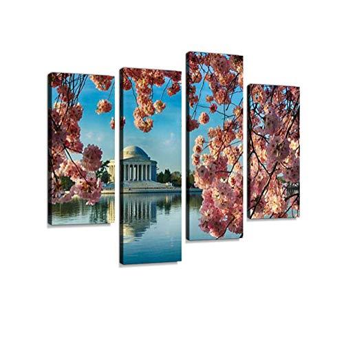 LIS HOME Kirschbäume Volle Blüte Framing Jefferson Memorial Leinwand Wandkunst Hängen Gemälde Moderne Kunstwerk Abstrakte Bild Drucke Dekoration Geschenk Einzigartig Gestaltete 4 Panel -