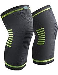 Sable Genouillère Crossfit Ligamentaire Sport de Compression Élastique mixte pour Maintien (Design anti-dérapant, Distribution de pression homogène, Tissu Flexible & respirant)