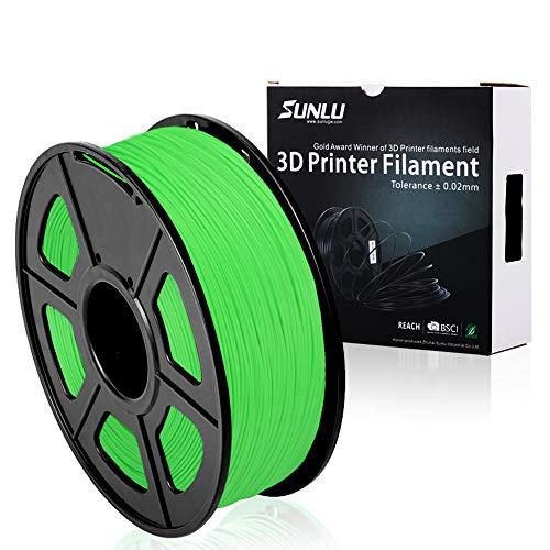 PLA+ 3D Printer Filament,PLA+ Filament 1.75 mm SUNLU,Low Odor Dimensional Accuracy +/- 0.02 mm 3D Printing Filament,2.2 LBS (1KG) Spool 3D Printer Filament for 3D Printers & 3D Pens,Green
