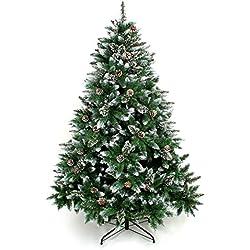 Yorbay Árbol de Navidad artificial verde con nieve incluye las piñas y soporte (altura 150cm)
