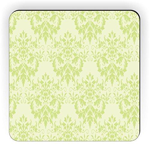 Rikki Knight Shabby Chic Grün auf Grün Damast Design Quadratisch Kühlschrank Magnet