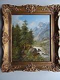(Wien 1830 - 1890). Wanderer am Bach. Öl auf Holz. Um 1870. Unten links signiert. 32 x 27 cm. Im goldenen Barockrahmen (dieser etwas berieben).