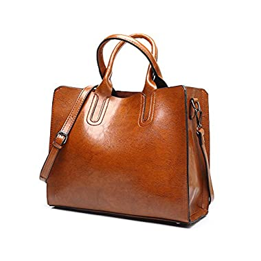 VANCOO New Trendy Womens Tote Bags Ladies Handbags Shoulder Bag for Women Oil Wax Leather (Brown)