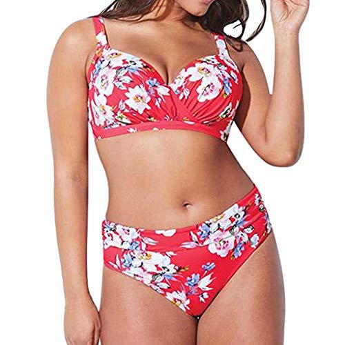 HCFKJ Bikini für Mollige, L - XXXXXL, Damen Plus Size Hohe Taille Bikini Set Badeanzug Monokini ... (5XL, Rosa)