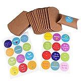 Geschenkboxen-Set 'Natur' mit 24 Geschenkboxen 'Kissen' + 24 selbstklebende Aufkleber mit Sprüchen,...
