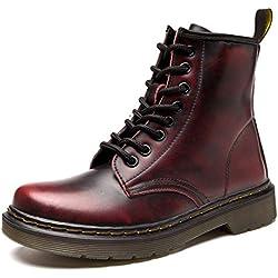 Botas de Mujer Impermeables Botines Hombre Invierno Zapatos Nieve Piel Forradas Calientes Planas Combate Militares Boots,Rojo 39