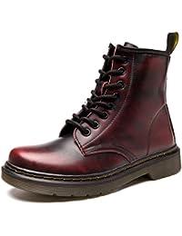 88c8620782b ukStore Botte Femme Hiver Homme Bottes Bottines Plates Fourrées Boots  Chaussures Lacets
