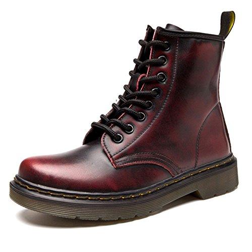 ukStore Damen Stiefel Derby Wasserdicht Kurz Stiefeletten Winter Herren Worker Boots Profilsohle Schnürschuhe Schlupfstiefel,Warm gefüttert/Rot 38 EU, Herstellergröße 245/1.5