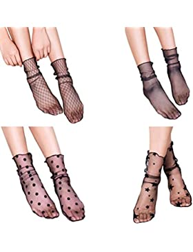 Tinksky Donne puro Slouch calze Sexy calze a rete maglia calzini Slouch per medicazione 4 paia, Nizza calze per...