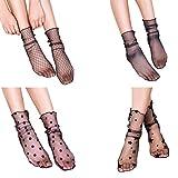 LUOEM 4 Paare Frauen hohe Socken schiere Slouch Söckchen transparente Spitzen Socken