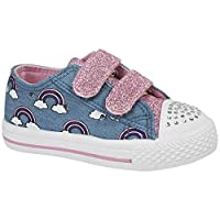Girls Children Kids Canvas Toddlers Shoes Summer Pumps Casual Infants Trainers Flat Low Top Velcro Touch Fastening Soft Lightweight Plimsolls Boots Baby Sizes 4-12 Blue