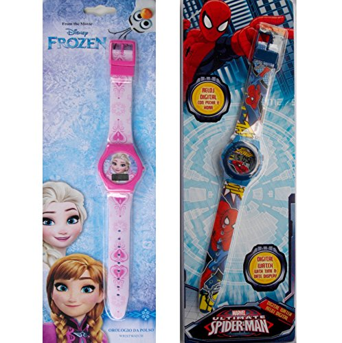 set-due-orologi-digitali-frozen-spiderman-originali