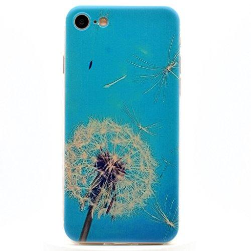 Uming® Copertura di caso della TPU colorful soft modello della stampa Case Cover ( Couple Dandelion - per IPhone 7 7G IPhone7G IPhone7 ) Sacchetto di caso della copertura della protezione del silicone Blue dandelion