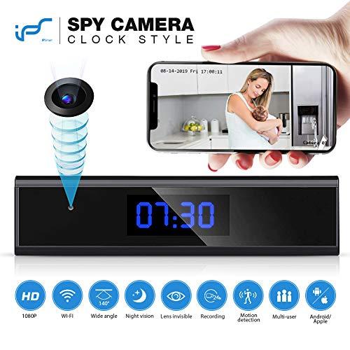 Telecamera spia nascosta, 1080p videocamera nascosta wifi orologio-sveglia sorveglianza telecamera con visione notturna mini microcamere spia con rilevamento del movimento