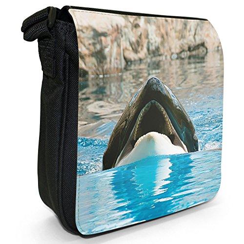 Killer/orca balene Orcinus orca piccolo nero Tela Borsa a tracolla, taglia S Killer Whale Shows Off Jaws
