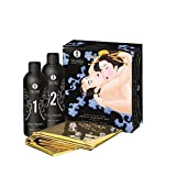 Kit Masaje Erótico Secretos de una Geisha Aroma Frutas Exóticas - Shunga - Masaje Oriental Cuerpo a Cuerpo (Incluye Sabana Dorada Impermeable)