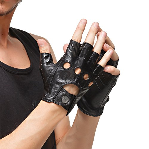 Nappaglo Herren Lederhandschuhe für fahren italienisches Lammfell Halbfinger Fingerlose Ungefüttert Motorrad Radfahren Handschuhe (XXL (Umfang der Handfläche:23.8cm), Schwarz)