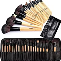 Make up Brushes,Cadrim 24 pcs Natural Hair Professional Makeup Brush Set Travel Makeup Brush Kit with Case (burlywood)
