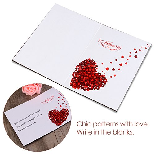 Unomor Love Card Handmade Imitation Wood Anniversary Greeting Card for Birthdays, Weddings with Gift Box