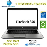 Notebook + Doking Station HP EliteBook 840 G2 Core i5-5300U 8Gb 240Gb SSD 14' Windows 10 Pro con Licenza Nuova Simpaticotech MAR Microsoft Authorized Refurbisher (Ricondizionato)(CON Docking Station)