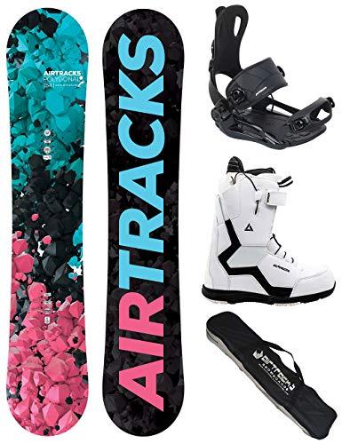 Airtracks Damen Snowboard Set - Board Polygonal 144 - Softbindung Master - Softboots Strong W QL 38 - SB Bag