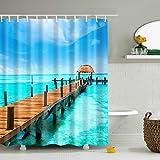 GWELL Blau Seestern Meerjungfrau Anti-Schimmel Duschvorhang inkl. 12 Duschvorhangringe für Badezimmer Art-G 180x200cm