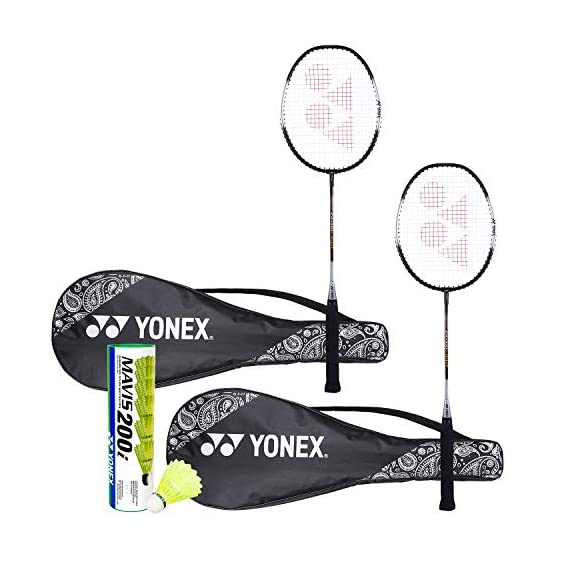 Yonex ZR 100 Light Badminton Combo (Set of 2 Yonex ZR 100 Light Badminton Racquet with Full Cover + Mavis 200I Shuttlecock Pack of 6)