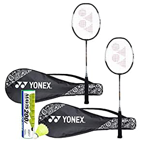 Yonex ZR 100  Light Badminton Combo (Set of 2 Yonex ZR 100 Light  Badminton Racquet with Full Cover Black/Black + Mavis 200I Shuttlecock Pack of 6)