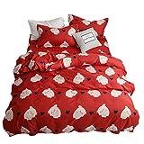 DOTBUY Bettwäsche-Set 3 Teilig, 3 Teilig Bedding Bedrucktes Modern Style Bettbezug-Set Bequem Atmungsaktiv Weich Microfaser Bettwäsche-Set 1 Bettbezug + 2 Kissenbezug (135x200,Schwein)