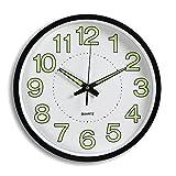 Jeteven Rund 30cm Wanduhr fest ohne Tickgeräusche Lautlos Wanduhr Luminous Wall Clock(Schwarz)