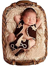 Newborn Baby Photography Props Boy Girl Crochet Costume Outfits Cowboy suit
