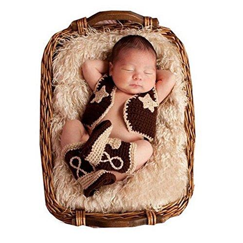 Neugeborene junge mädchen Handarbeit gehäkelte Baby kostüm fotoshooting Cowboy Wolle Anzug