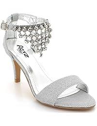 da3615e73d20f Mujer Ladies Sparkly Cristal Diamante Gemas Boda de la Tarde Fiesta Prom  Nupcial Tacón Alto Sandalias Zapatos…