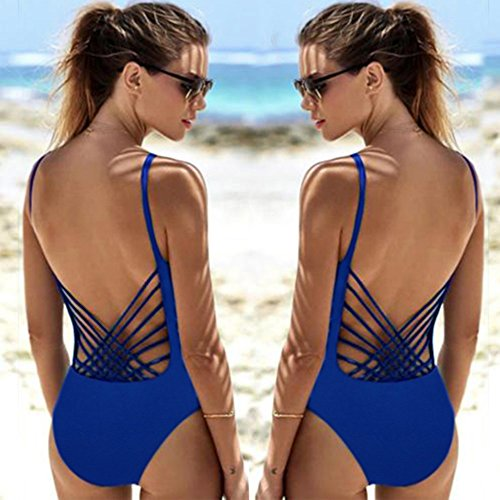Femmes Bikini,Maillot de bain monokini baignoire push up rembourré une pièce-Lonshell Bleu