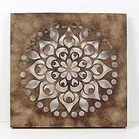 -Mandala de Pared, Fabricada artesanalmente en España- tamaño 50X50 cm, Mandala 3D Cuadrada Pintado a Mano- Modelo Mosaico 103 (BETÚN)