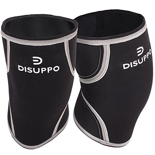 07d98dbdbc DISUPPO 7mm Knee Sleeves (1 pair), Compression Knee Braces for  Weightlifting, Cross Training, CrossFit, Powerlifting, Bodybuilding, Squats,  Gym, ...